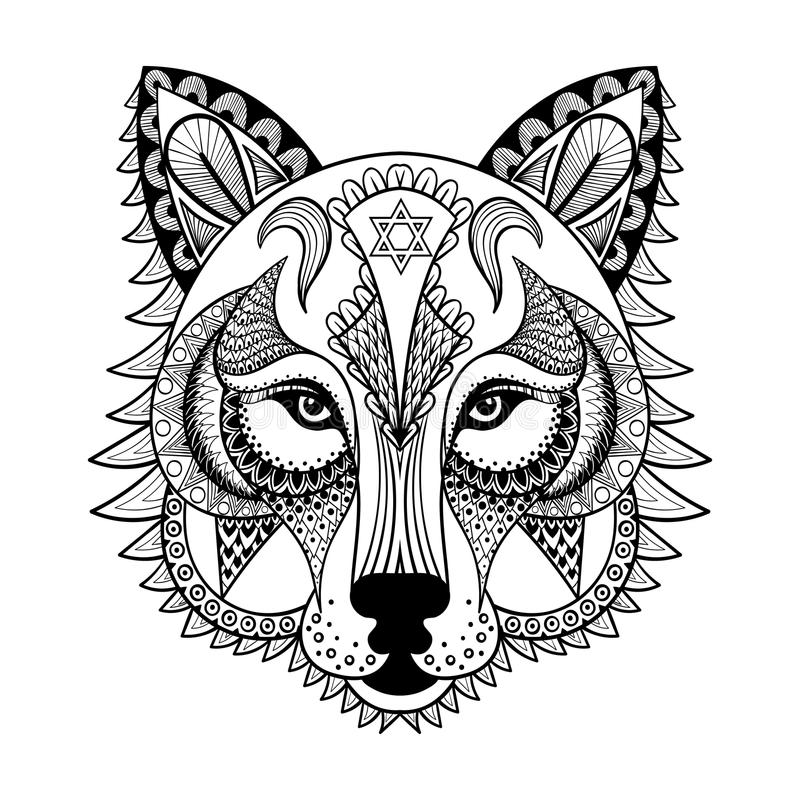 Vector ornamental Wolf, ethnic zentangled mascot, amulet, mask royalty free illustration