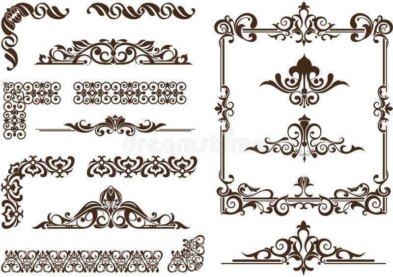 Vector ornaments frames, corners, borders vector illustration