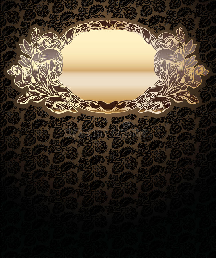 Vector Ornate Background With Gold Medallion vector illustration