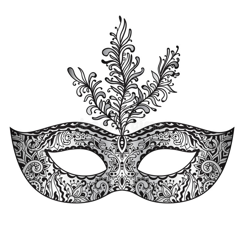 Vector ornate floral Venetian carnival mask with feathers. stock illustration