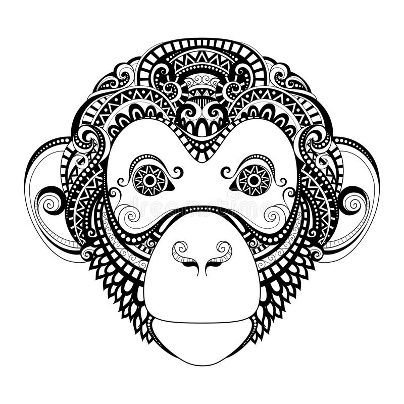 Vector Ornate Monkey Head. Patterned Tribal Monochrome Design. Symbol of the Year 2016 by Chinese Horoscope
