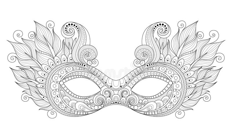 Vector Ornate Monochrome Mardi Gras Carnival Mask with Decorative Feathers vector illustration