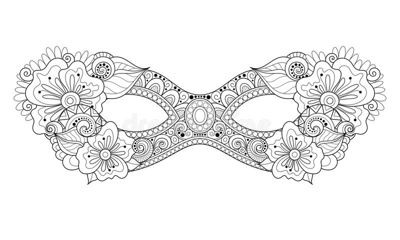Vector Ornate Monochrome Mardi Gras Carnival Mask with Decorative Flowers stock illustration