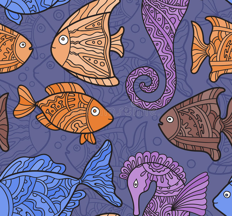 Vector Ornate Sea Seamless Pattern with fishes, seahorses. And water-plants royalty free illustration