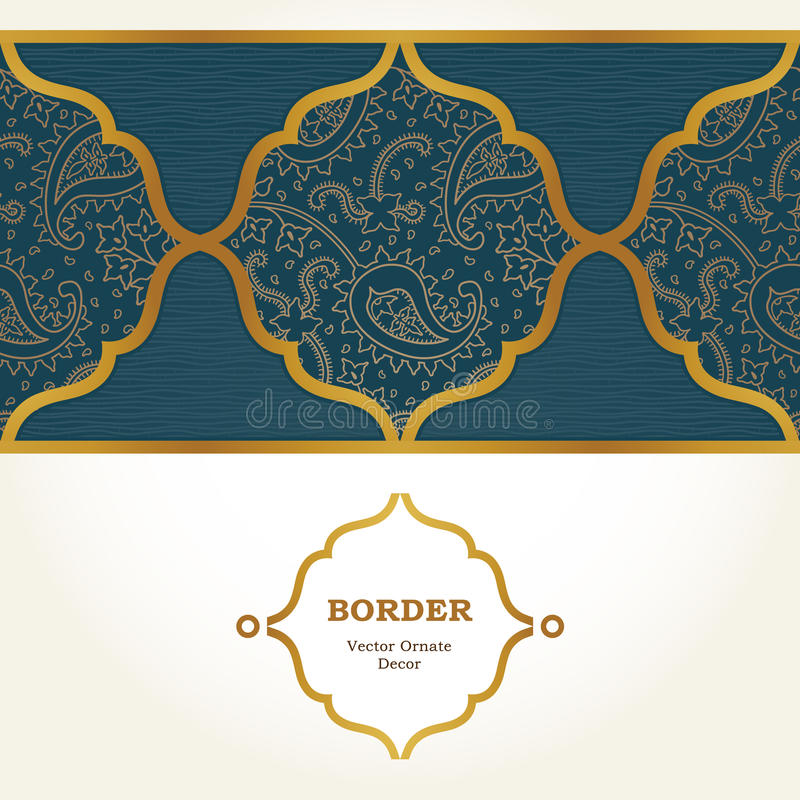 Vector ornate seamless border in Eastern style. Golden element for design. Outline vintage pattern for invitations, birthday and greeting cards, wallpaper royalty free illustration