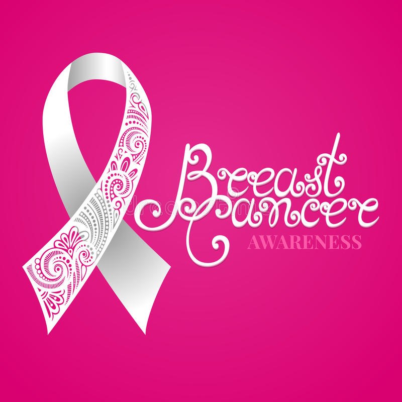 Vector Ornate White Ribbon of Breast Cancer on Pink Background. With Decorative Lettering (Hand Written Inscription royalty free illustration