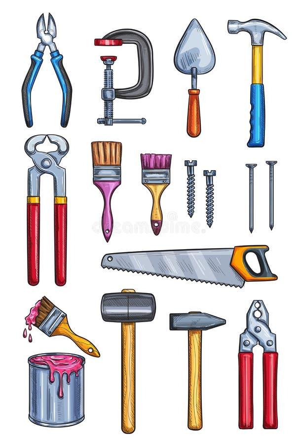 Vector os ícones home do esboço da cor do reparo das ferramentas do trabalho ilustração stock