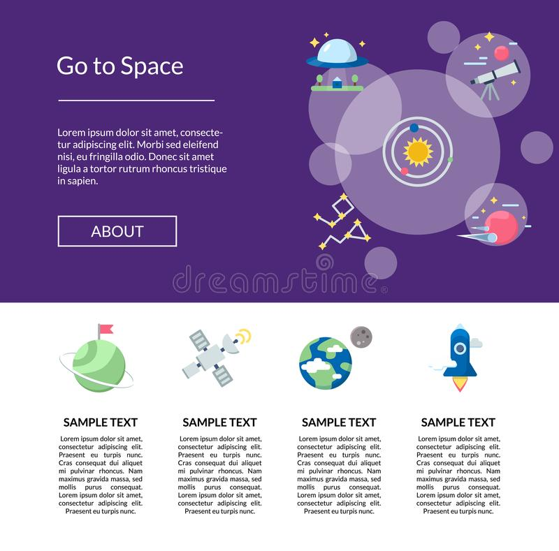 Vector os ícones lisos do espaço que aterram a ilustração do molde da página ilustração royalty free