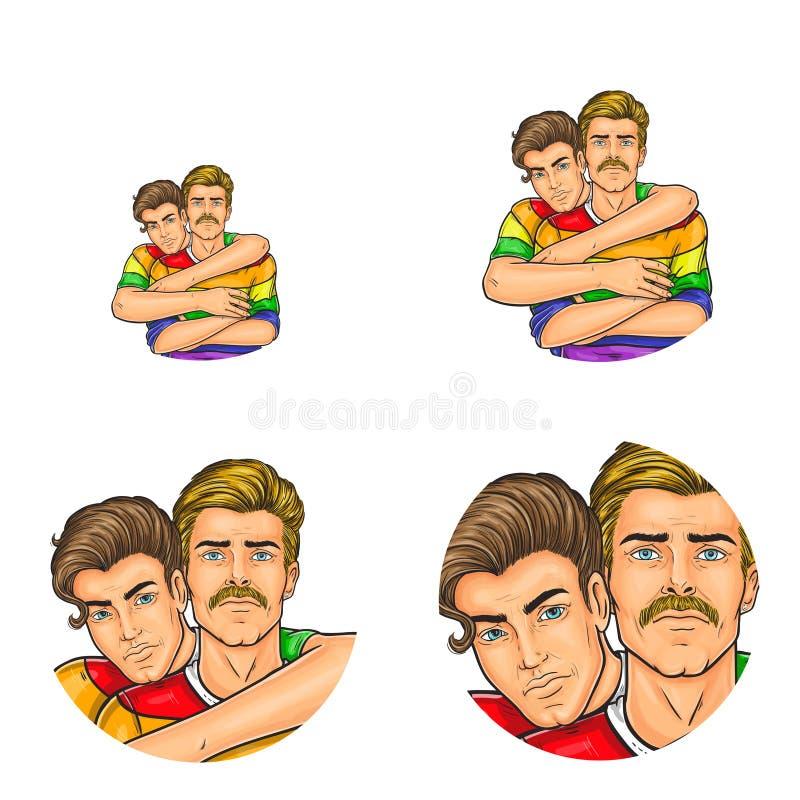 Vector os avatars sociais do usuário da rede do pop art de pares dos homem gay que abraçam na roupa do arco-íris Ícones retros do ilustração do vetor