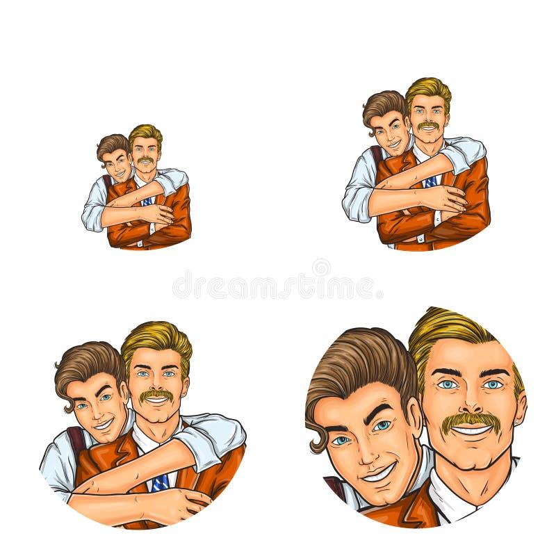 Vector os avatars sociais do usuário da rede do pop art do menino do filho que abraçam ícones retros do perfil do esboço do homem ilustração stock