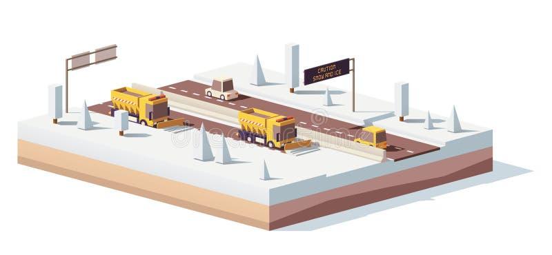 Vector os baixos snowplows polis que trabalham na estrada ilustração stock