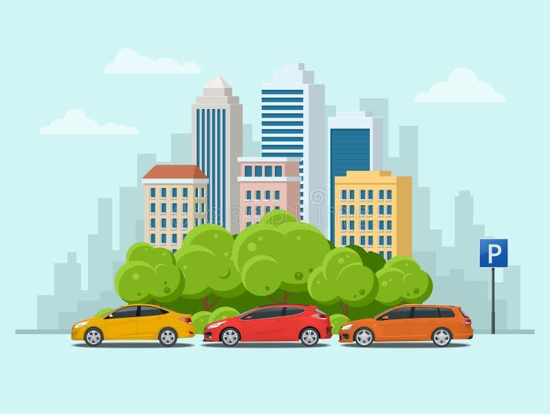 Vector os carros do conceito estacionados no parque de estacionamento ao longo da rua da cidade com árvores verdes Paisagem urban ilustração royalty free