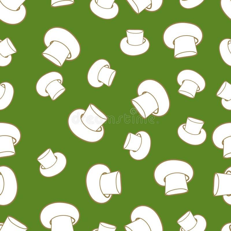 Vector os cogumelos brancos contra o fundo verde-claro, teste padrão quadrado sem emenda ilustração do vetor