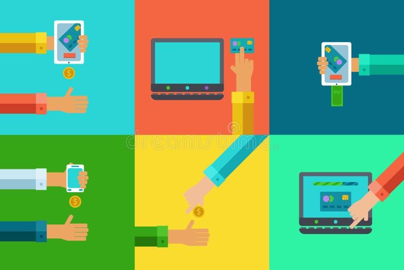 Vector os conceitos da operação bancária em linha ajustados - pague e receba o dinheiro usando dispositivos móveis ilustração stock