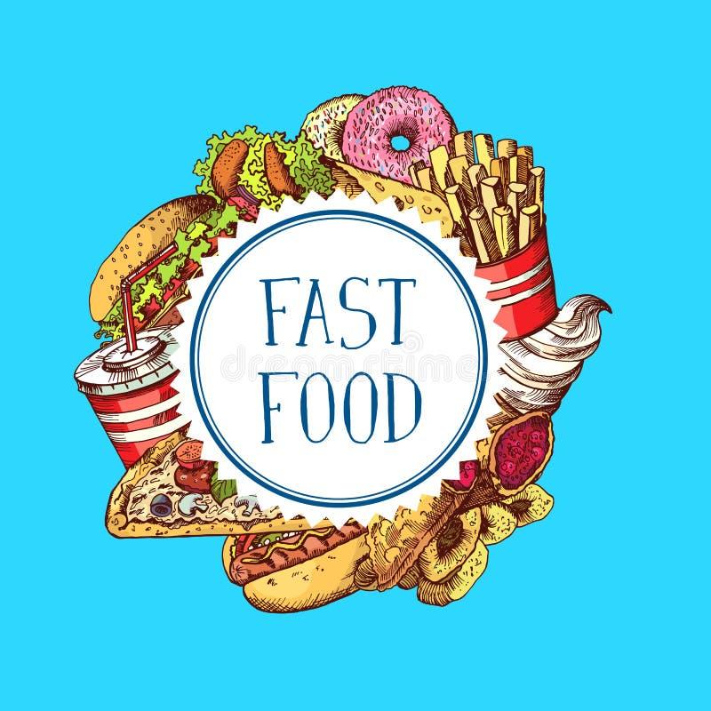 Vector os elementos coloridos tirados mão do fast food recolhidos sob a ilustração do círculo ilustração stock
