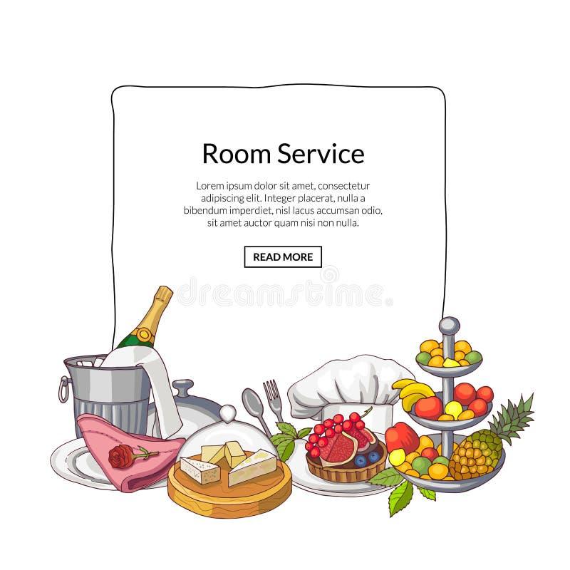 Vector os elementos de serviço tirados mão do restaurante ou da sala recolhidos sob o quadro com lugar para o texto ilustração stock