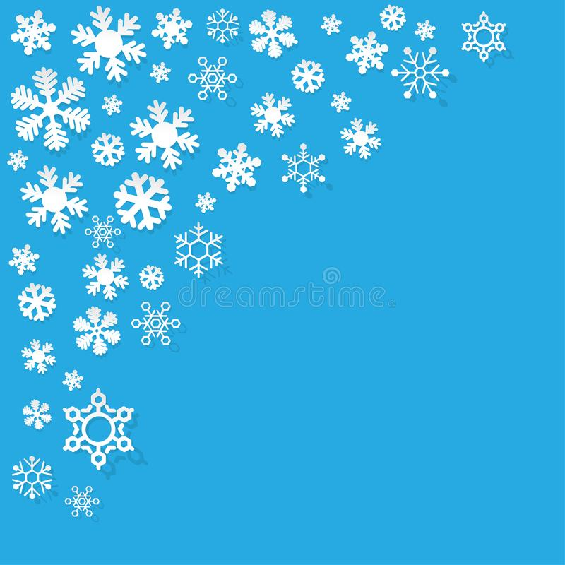 Vector os flocos de neve de papel no canto em um fundo azul ilustração do vetor
