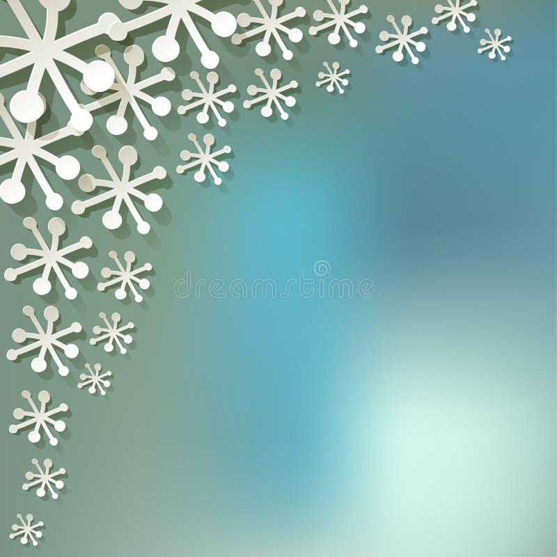 Vector os flocos de neve de papel no canto em um fundo azul da névoa do bokeh ilustração stock