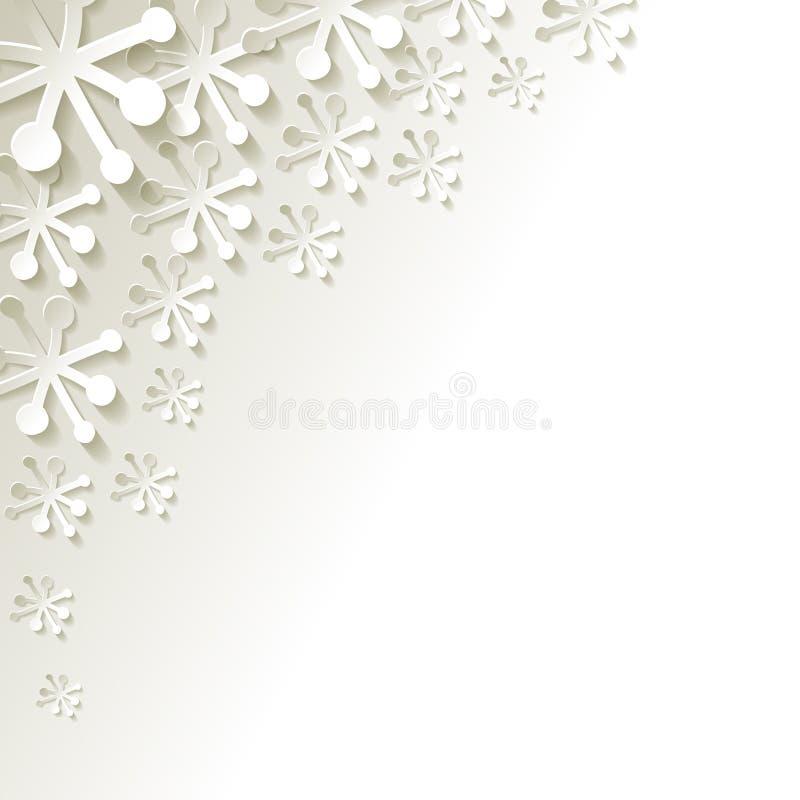 Vector os flocos de neve de papel no canto em um fundo cinzento ilustração royalty free