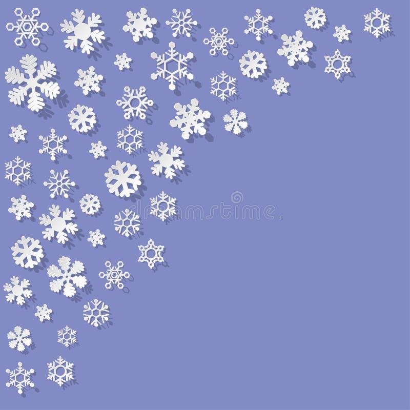 Vector os flocos de neve de papel no canto em um fundo do lila ilustração royalty free