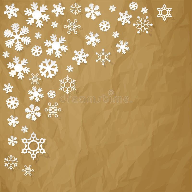 Vector os flocos de neve de papel no canto em um fundo marrom de papel amarrotado ilustração royalty free