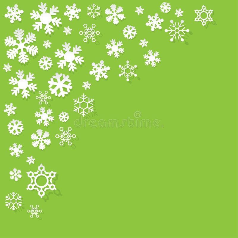 Vector os flocos de neve de papel no canto em um fundo verde ilustração stock