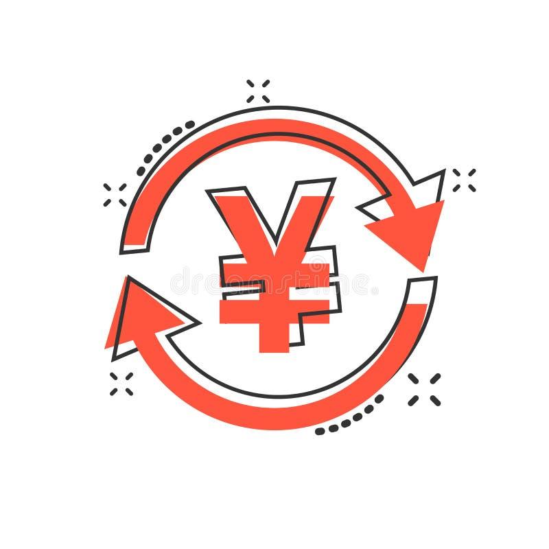 Vector os ienes dos desenhos animados, ícone da moeda do dinheiro do yuan no estilo cômico yen ilustração royalty free