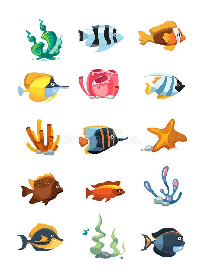 Vector os objetos da decoração do aquário dos desenhos animados, ativos subaquáticos para o jogo do telefone celular ilustração stock