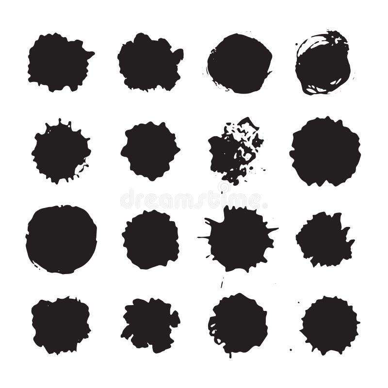 Vector os pontos, as manchas, borrões monocromáticos e as gotas da tinta ajustados ilustração do vetor