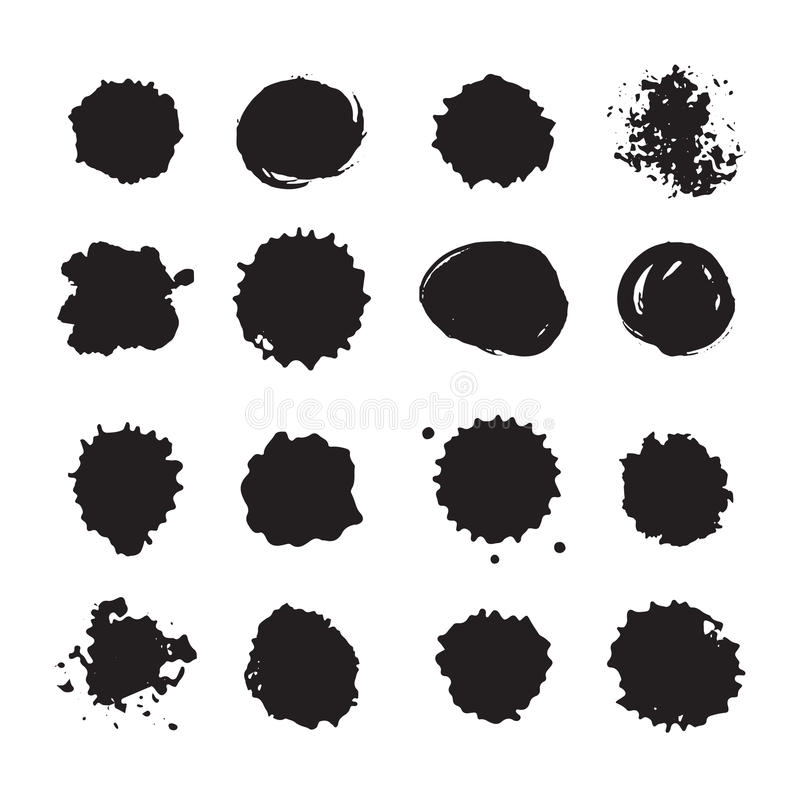 Vector os pontos, as manchas, borrões monocromáticos e as gotas da tinta ajustados ilustração stock