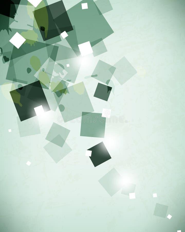 Vector os splotches verdes da pintura que sobrepõem o fundo transparente geométrico dos quadrados ilustração royalty free