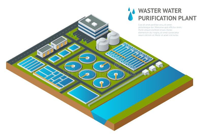 Vector os tanques de armazenamento isométricos na planta de tratamento da água da água de esgoto ilustração royalty free