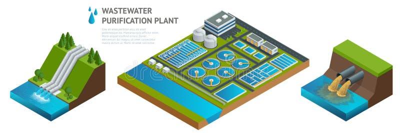 Vector os tanques de armazenamento isométricos na planta de tratamento da água da água de esgoto ilustração do vetor