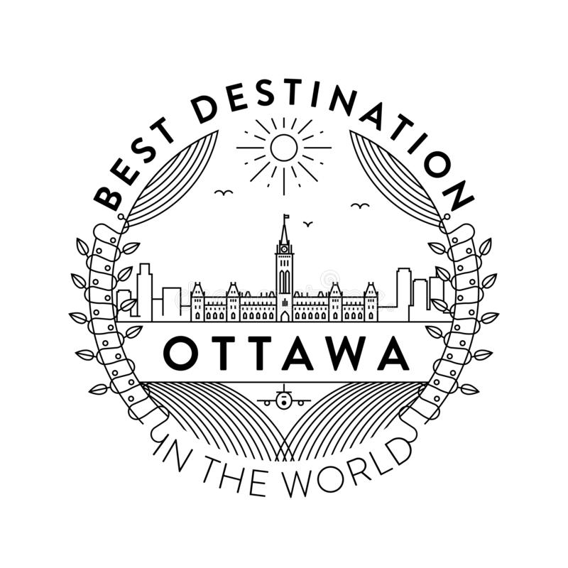Vector Ottawa City Badge, Linear Style stock illustration