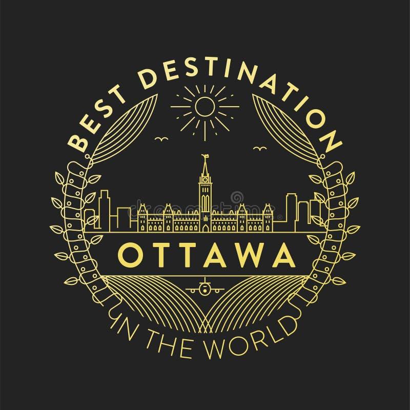 Vector Ottawa City Badge, Linear Style royalty free illustration