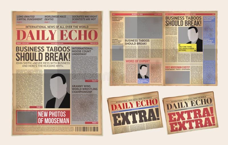 Vector oud dagelijks krantenmalplaatje, tabloid, lay-out het posten rapportage royalty-vrije illustratie