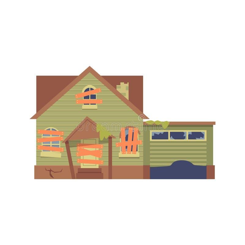 Vector oud verlaten groen huis met een garage en ingescheept op vensters, een deur in vlakke beeldverhaalstijl vector illustratie