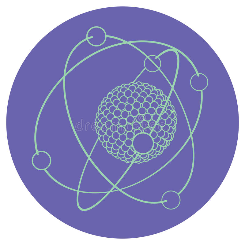 Vector outline atom nucleus vector illustration