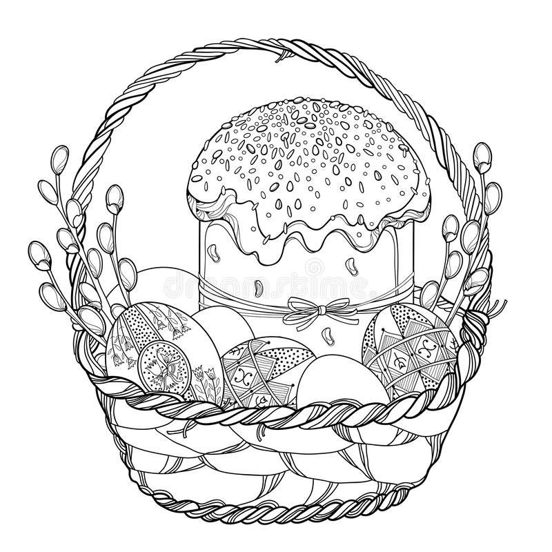 Vector outline basket with Easter cake or Paska, Ukrainian Easter egg Pysanka and willow twig in black isolated on white. Vector outline basket with Easter cake vector illustration