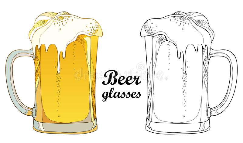 Vector Outline Beer Mug In Black And In Color On White
