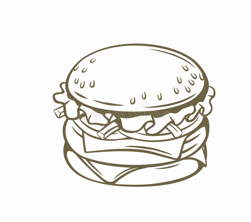 Vector outline burger stock illustration