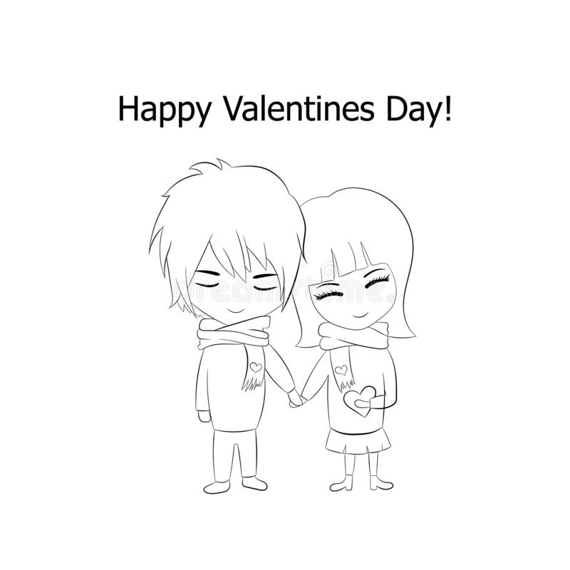 Vector Outline Couple in Love, Happy Valentines Day, Cartoon Drawing Isolated on White Background. stock illustration
