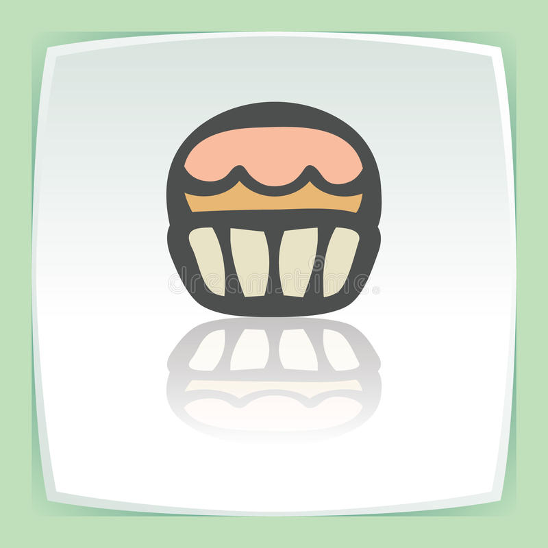 Vector outline cupcake with cream icon. Modern infographic logo and pictogram. stock illustration