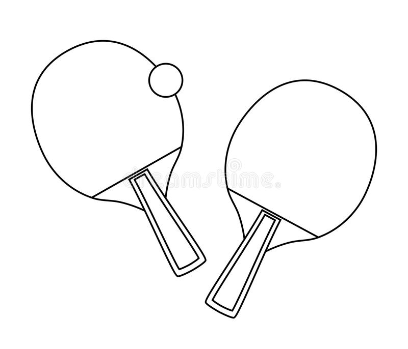 Vector outline design of table tennis bats and ball royalty free illustration
