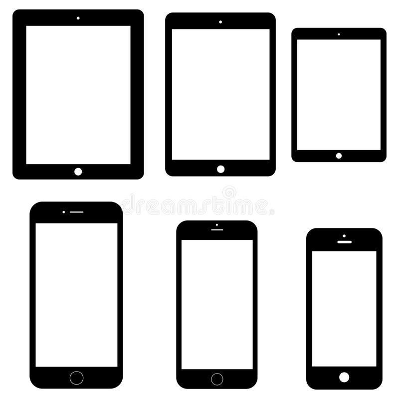 Set of electronics icons: tablets and smartphones on white background. stock illustration