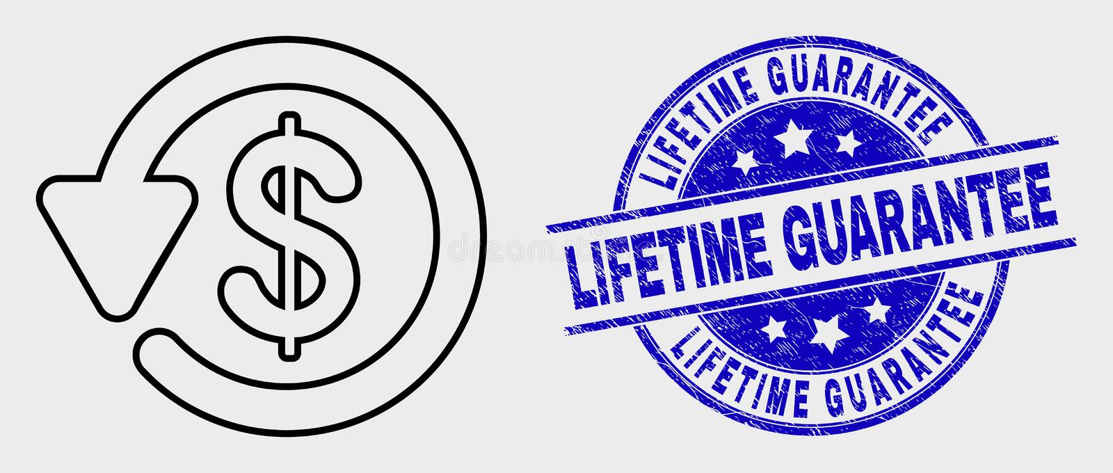 Vector Outline Dollar Refund Icon and Distress Lifetime Guarantee Stamp Seal. Vector outline dollar refund icon and Lifetime Guarantee seal stamp. Blue round stock illustration