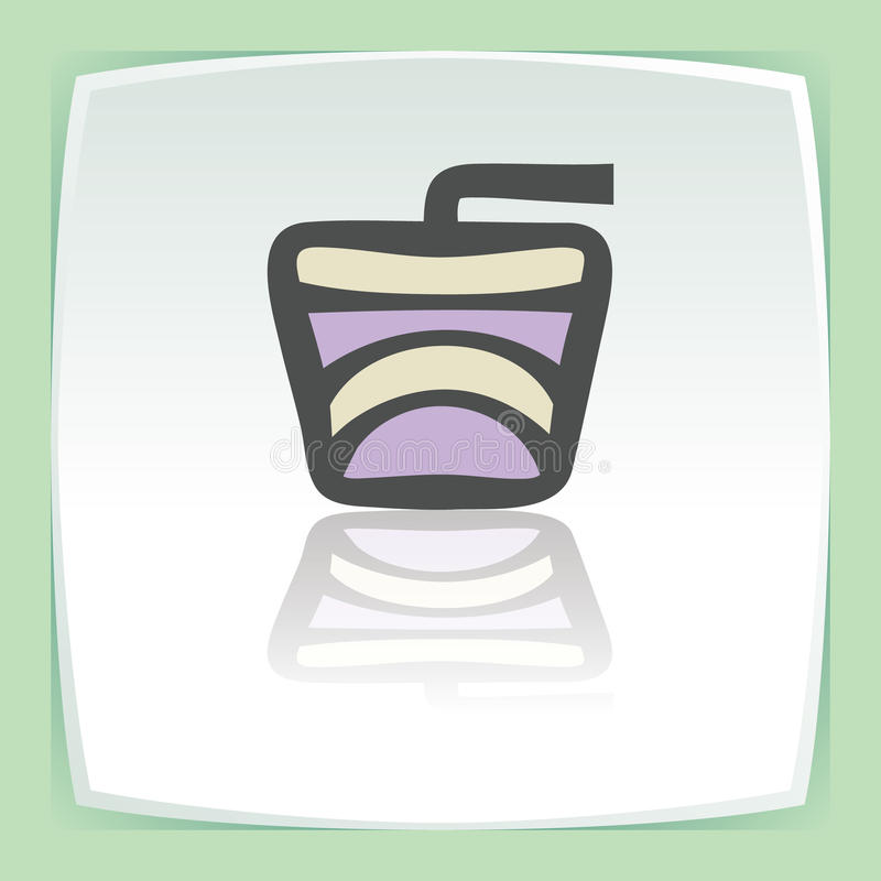 Vector outline drink in a paper cup with a cocktail straw icon. Modern logo. stock illustration