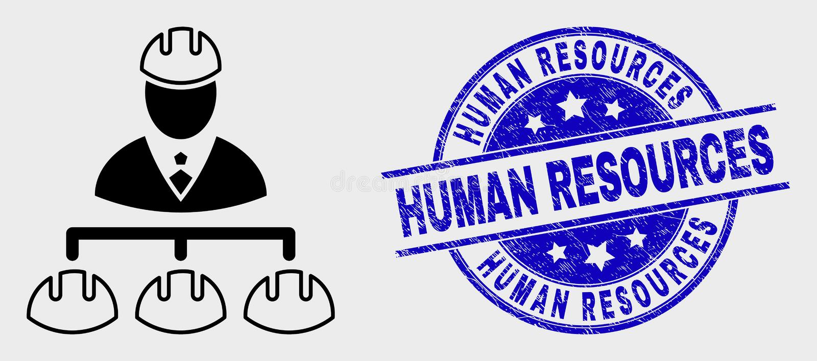 Vector Linear Engineer Hierarchy Icon and Distress Human Resources Watermark stock illustration