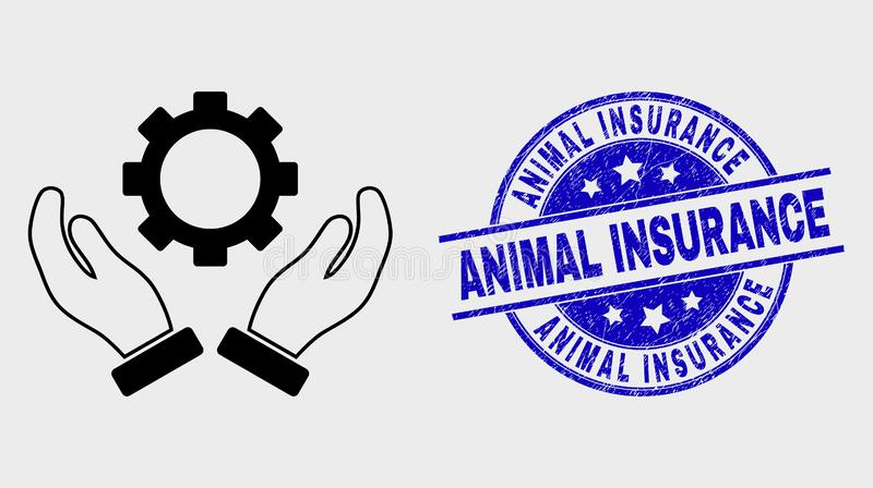 Vector Line Gear Care Hands Icon and Grunge Animal Insurance Stamp. Vector outline gear care hands pictogram and Animal Insurance watermark. Blue rounded grunge royalty free illustration