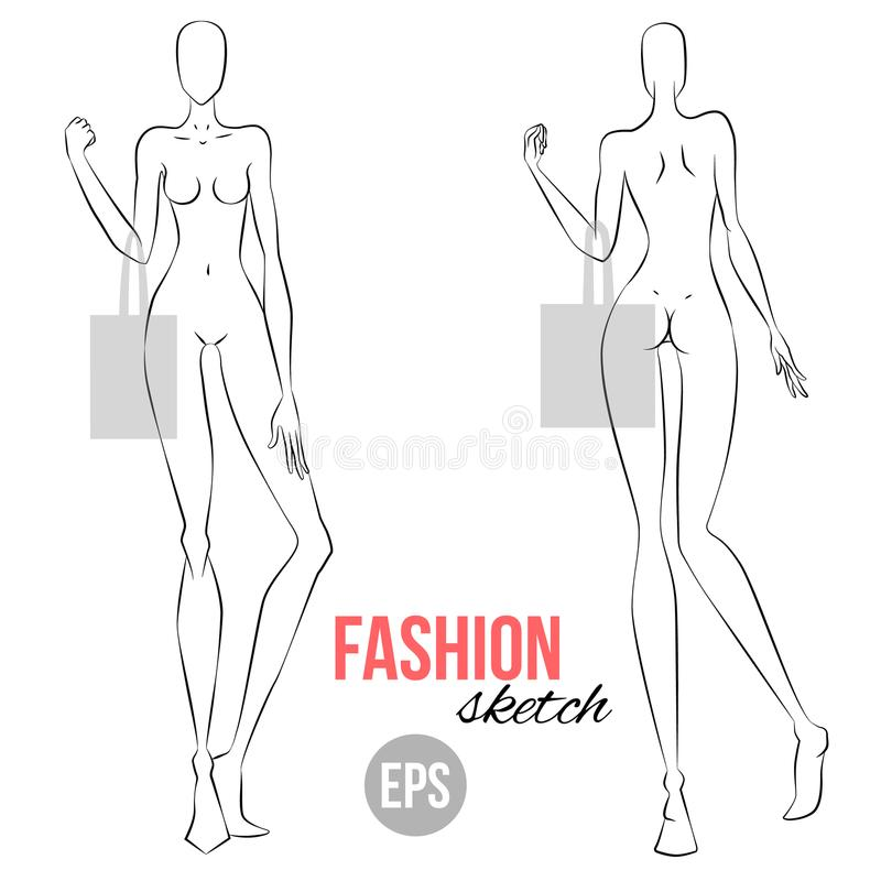 Vector outline girl model template for fashion sketching. Illustration of women`s figure for designers of clothes. Girl holding a. Bag. Front and back view stock illustration